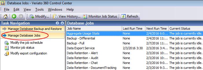 Managing Database Jobs