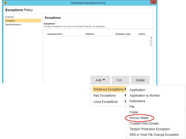 Symantec Endpoint Protection – Centralized Exception