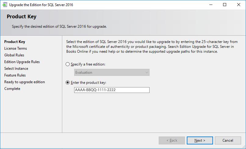 get sql license key from server 2016