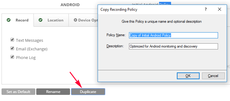 Add a Recording Policy